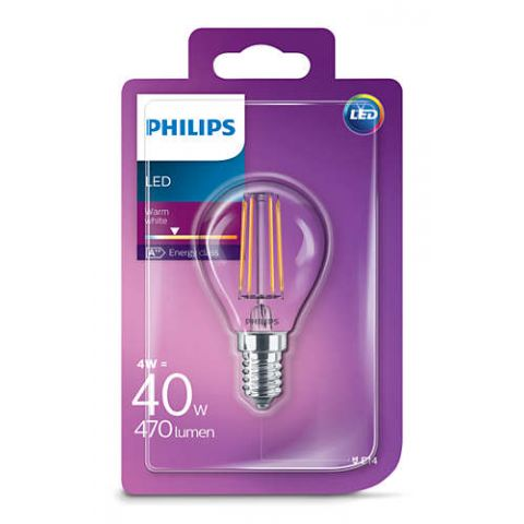 PHILIPS LED ŽIAROVKA E14 P45 WW 4W=40W