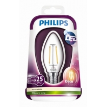 LED ŽÁROVKA PHILIPS FILAMENT 2,3W/25W E14 WW CANDLE CL